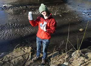 Water testing advocate and entrepeneur collects samples for her new business